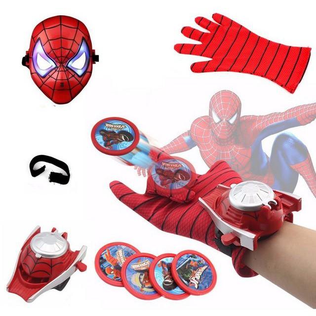 Bộ đồ chơi người nhện - mặt nạ, găng tay, đĩa bắn, mô hình người nhện