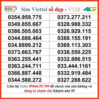 Sim Viettel V120 đầu 09 số đẹp giá rẻ 55 [HOT]