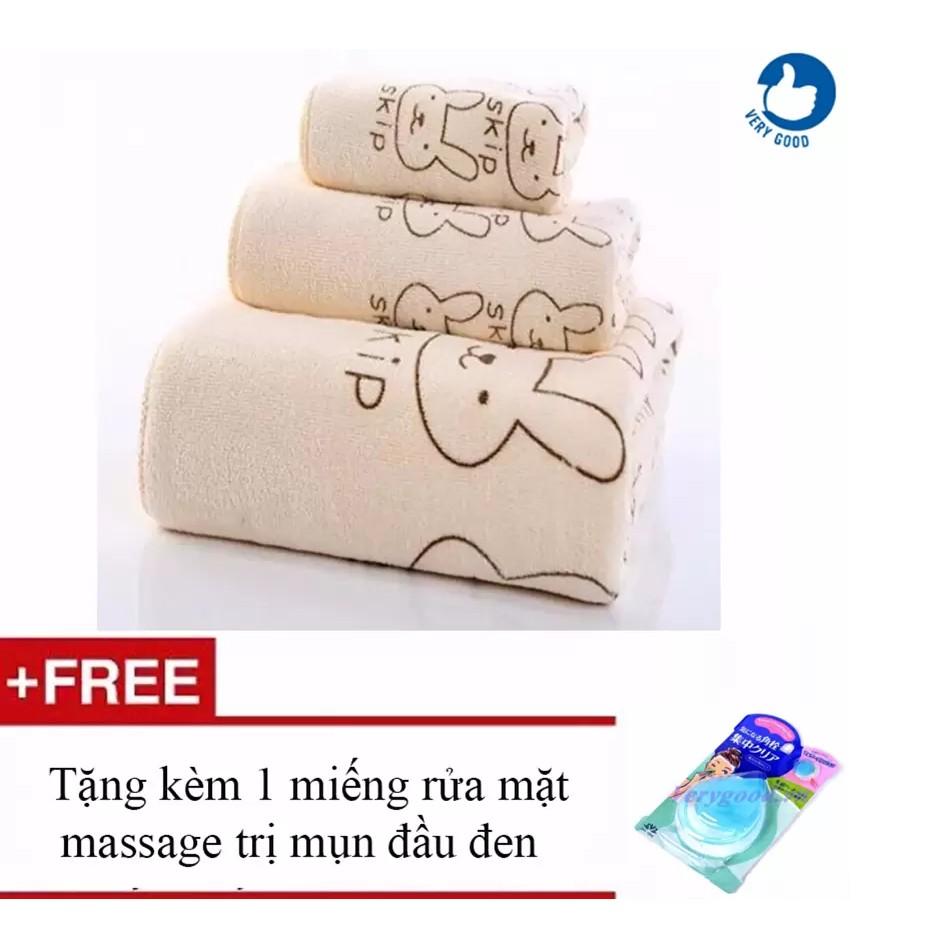 COMBO 3 Bộ khăn tắm - khăn mặt - khăn lau + Tặng 1 miếng rửa mặt