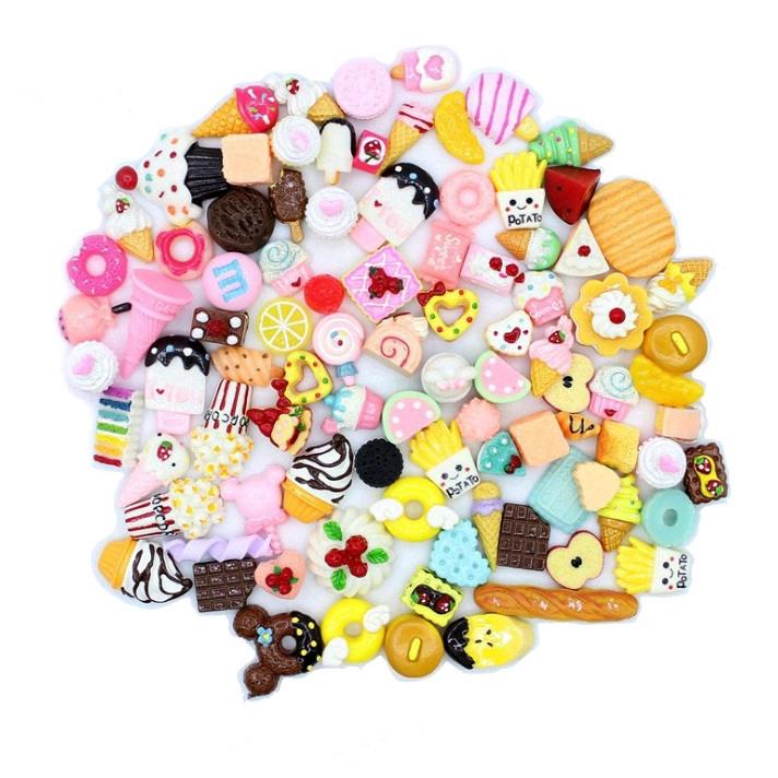 Bộ 10 mô hình đồ ăn thức uống mini dành cho các bé trang trí nhà búp bê Barbie