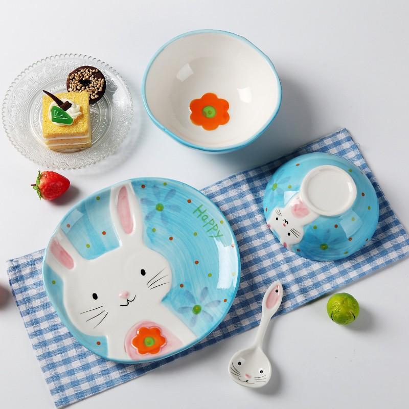Set 4 món bát đĩa sứ hình thỏ dễ thương ( kém ảnh thật )