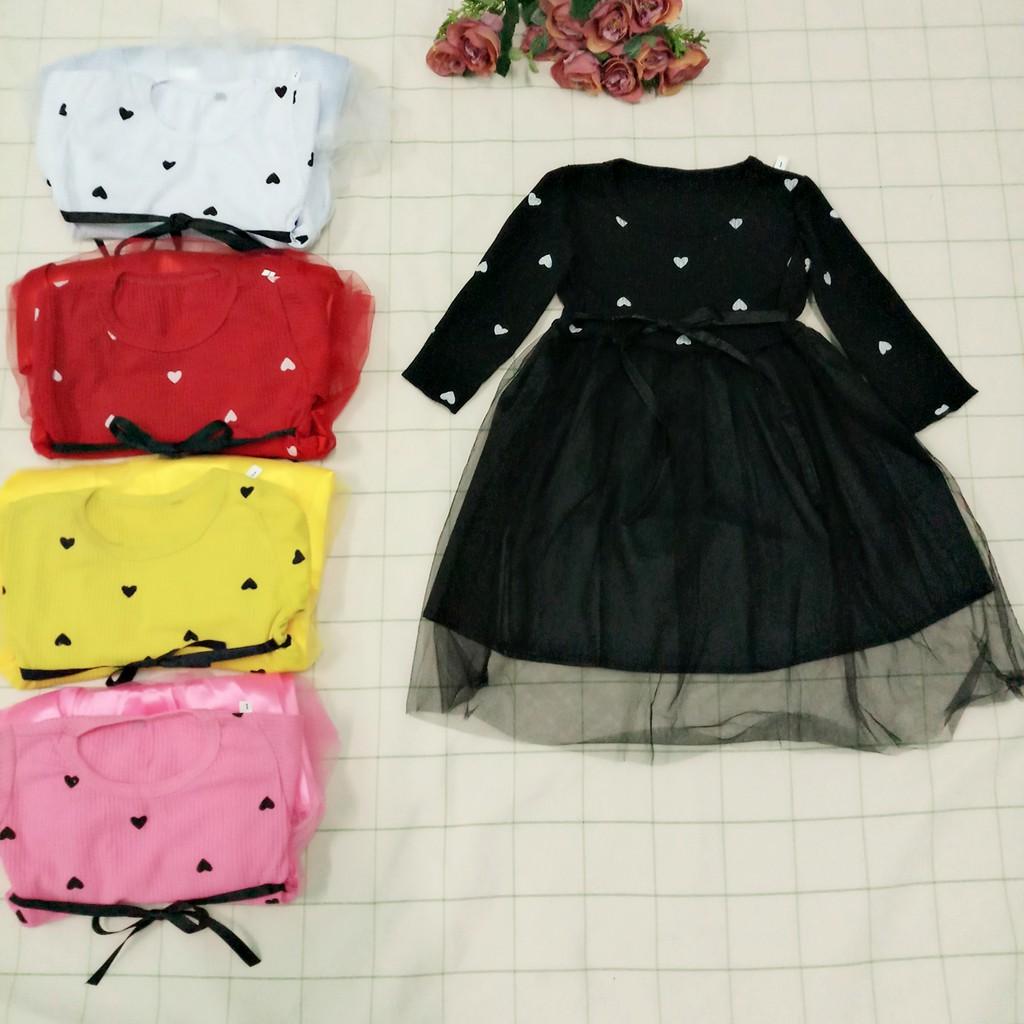 Đầm váy bé gái dài tay cotton len cho bé từ 8kg đến 20kg( màu đỏ, hồng, vàng, trắng, đen)