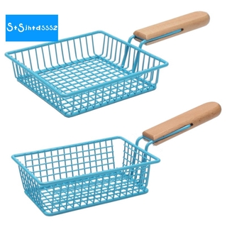 Creative Blue French Fries Basket Fried Chicken Snack Basket Mini Fried Basket Iron Basket Milk Tea Shop Tableware, S