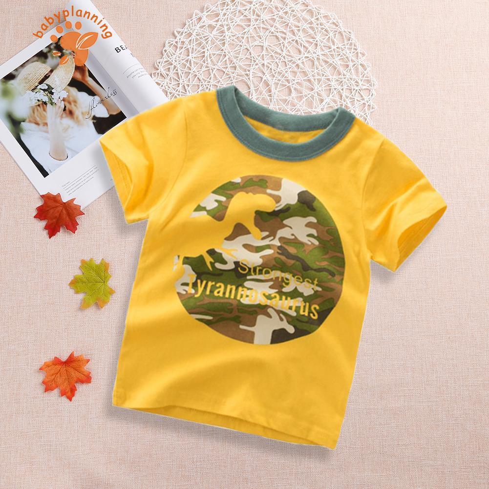 ♥BP♥☞Children Summer Short-Sleeves Cute Cartoon Camouflage Dinosaur Print Tops