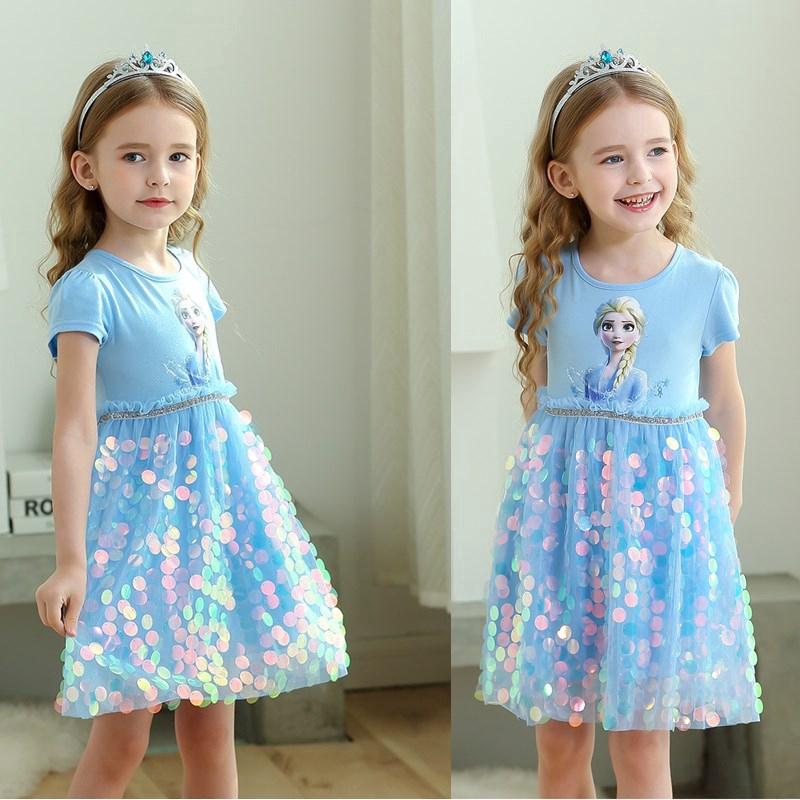 Đầm tutu kiểu công chúa họa tiết Elsa trang trí kim sa sành điệu cho bé gái