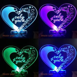 Đèn ngủ LED 3D Trái Tim – Quà tặng sinh nhật độc đáo, ý nghĩa cho bạn gái, bạn trai – Đèn trang trí đẹp