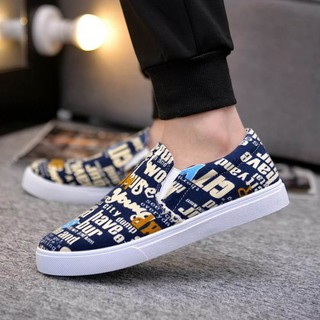 Giày lười họa tiết thời trang nam 2018(A010)