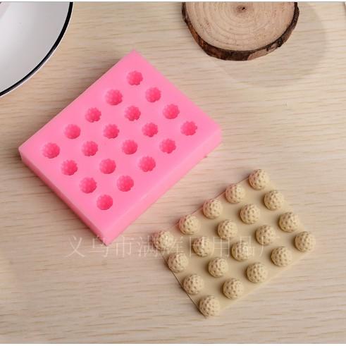 Khuôn silicon 3d làm bánh làm rau câu mẫu 20 quả dâu tây