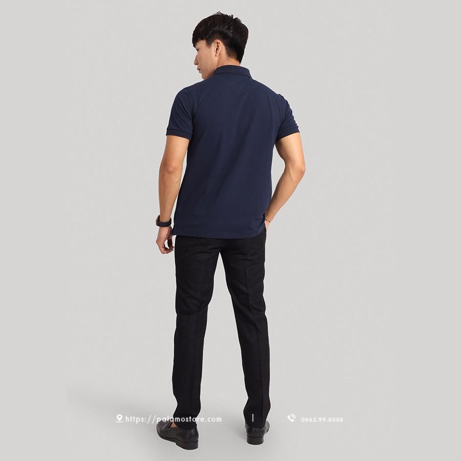 Áo thun Polo nam PALAMO cổ bẻ màu navy, vải mềm mịn, chất liệu cotton và spandex thấm hút mồ hôi, bảo hành 3 tháng