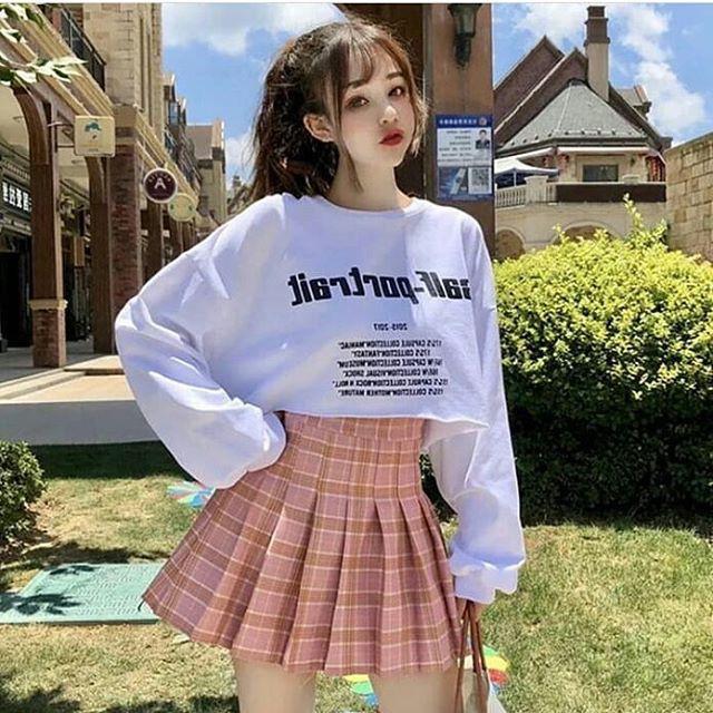 Váy Chân Váy Tennis 1765 Skirt Caro Korea kẻ