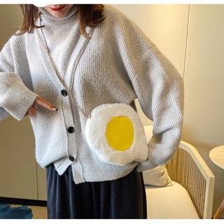 Túi đeo chéo lông hình trứng ốp la xinh xắn thumbnail