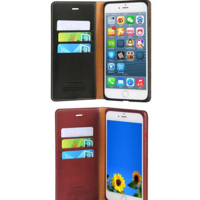 Bao da Nuoku xịn dạng ví cho IPhone 7/ IPhone 8 - Đen, Nâu