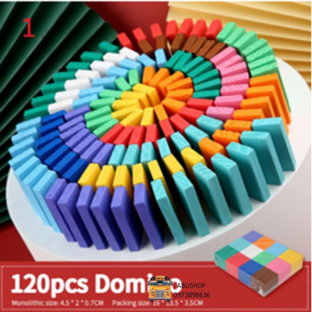 Đồ Chơi Trẻ Em, Đồ Chơi Xếp Hình Domino 120 Thanh Gỗ Màu, An Toàn Bền Nhẵn A30