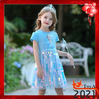Đầm xòe in hình công chúa Elsa dành cho bé gái 13-38kg