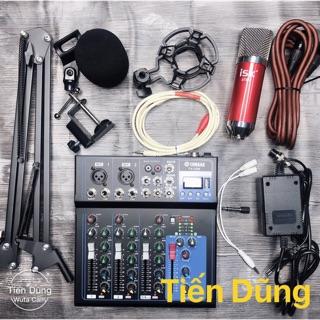 Combo mic thu âm AT850 mixer F4 bản nâng cấp có đèn led hỗ trợ bluetooth chân dây livestream chế xắc 6.5 dây mic dài 3m