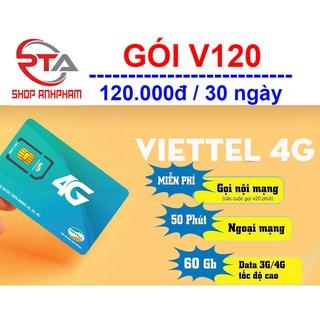 Sim 4G Viettel gói cước V120 (2Gb/ngày - 60Gb/tháng)