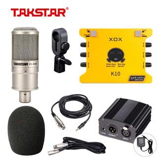 Combo đầy đủ thu âm, hát karaoke livestream chuyên nghiệp Mic Takstar PC-K200 + Soundcard XOX-K10 + nguồn mic