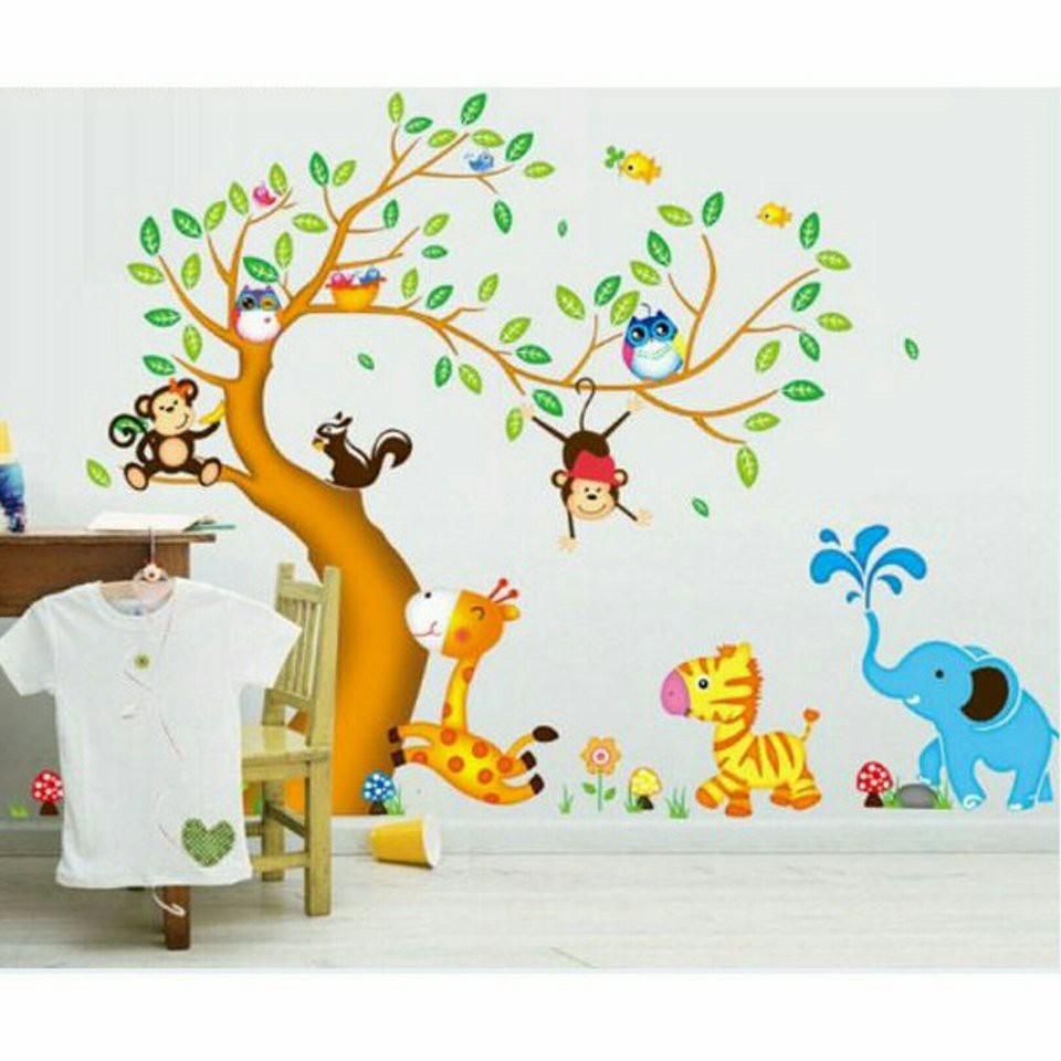 Decal dán tường vườn thú cây nâu cho bé - 2994451 , 207547770 , 322_207547770 , 65000 , Decal-dan-tuong-vuon-thu-cay-nau-cho-be-322_207547770 , shopee.vn , Decal dán tường vườn thú cây nâu cho bé