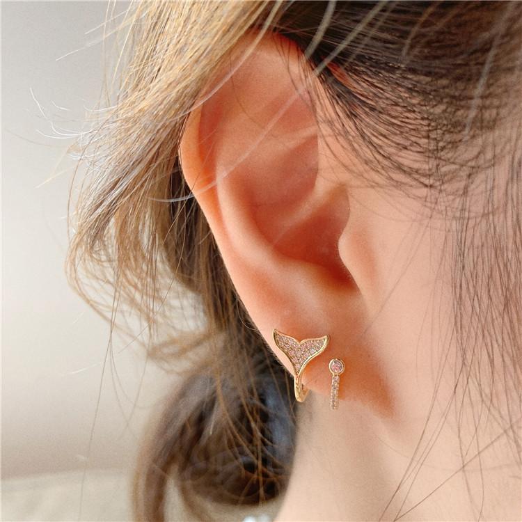 Khuyên tai kim mạ bạc 925 hình đuôi cá xinh xắn dành cho nữ
