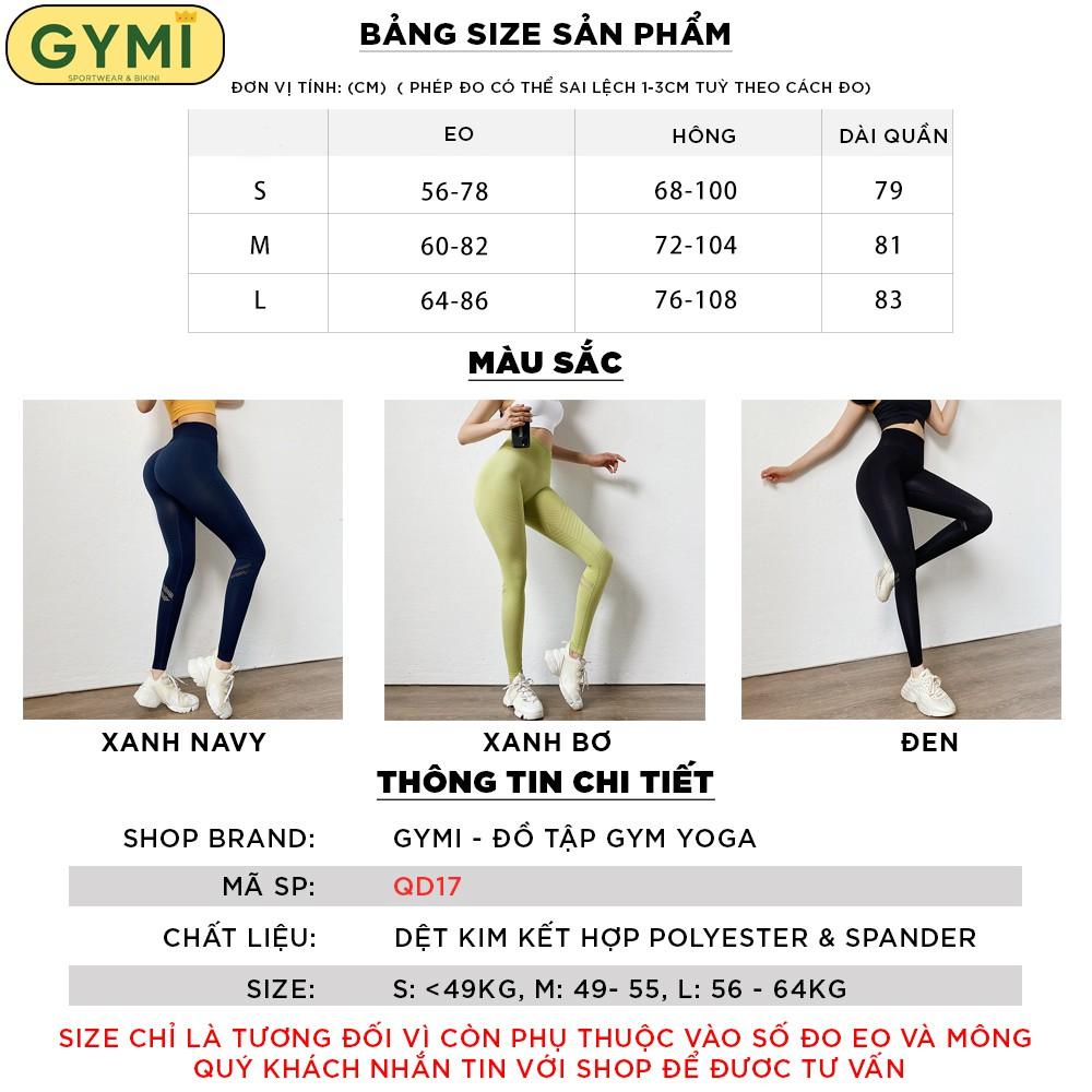 Mặc gì đẹp: Thoáng mát với Quần tập gym yoga nữ chun mông GYMI QD17 dáng legging thể thao lưng cao nâng mông hoạ tiết cắt lazer ống quần