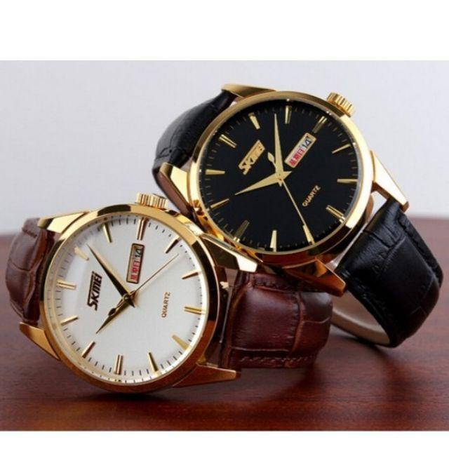 [big sale] đồng hồ nam skmei dây da siêu bóng bẩy trẻ trung