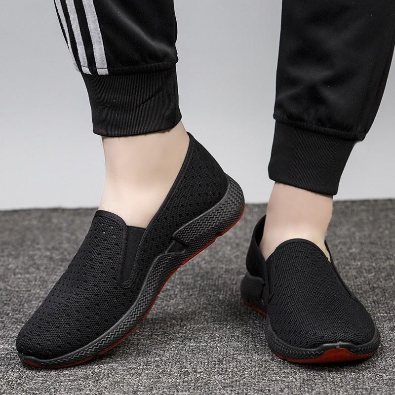 Giày Lười Vải Nam Có Lỗ Thoáng Khí Full Đen Đế Êm Chân MS060