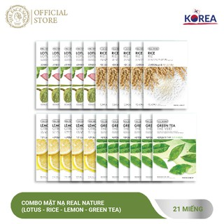 Combo Mặt Nạ Real Nature TheFaceShop (Lotus - Rice - Lemon - Green Tea) 20G X 21Pcs
