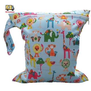 Baby Infant Waterproof Zipper Reusable Cloth Diaper Bag (Multi Animal Pattern Light Blue)
