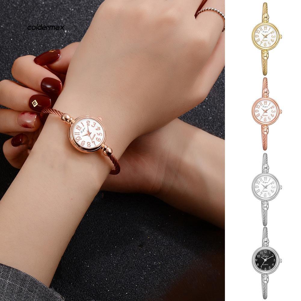 Colder_Fashion Lady Solid Color Round Dial Opening Bangle Bracelet Quartz Wrist Watch