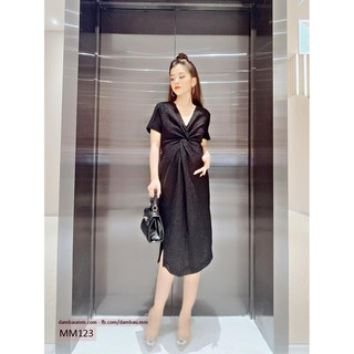 [GIẢM GIÁ SỐC] Váy bầu dự tiệc ,Đầm bầu thời trang body xẻ tà kim tuyến M&M MM123