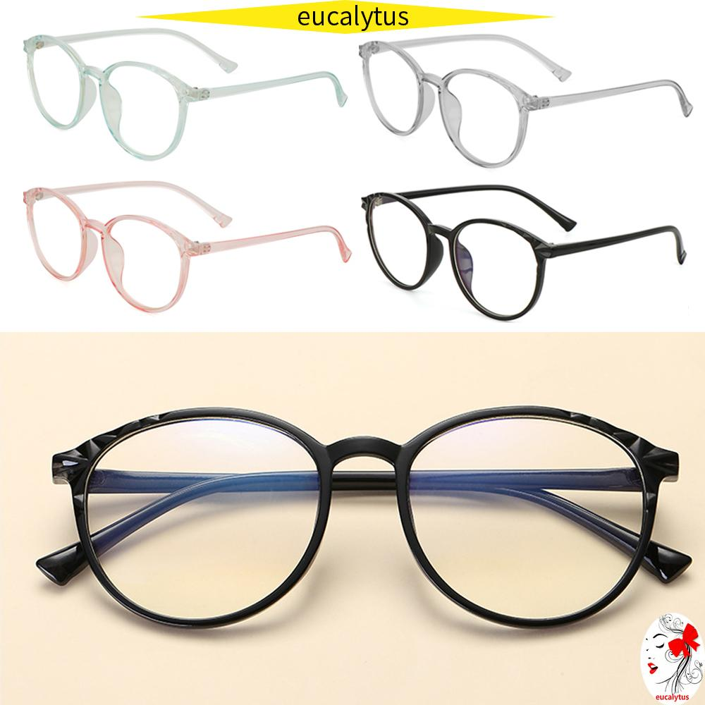 🌸EUTUS🌸 Unisex Optical Eye Glasses Reduces Eye Strain Flat Mirror Eyewear Vintage Eyeglasses Transparent Round Frame Ultralight High-definition Cool Clear...