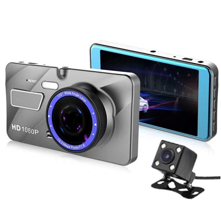 [ Tặng thẻ nhớ 16GB ] Camera hành trình ô tô trước sau Full HD 1080P, ống kính kép siêu bền