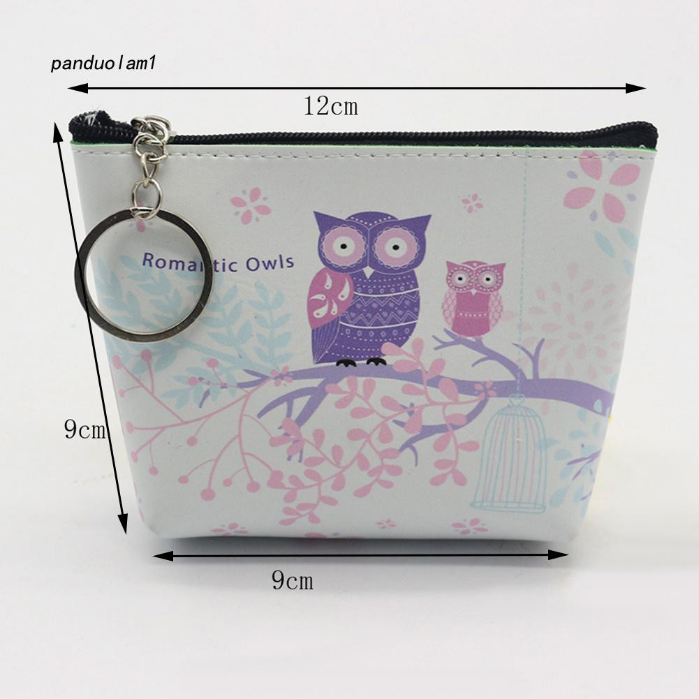 【PDL】&✱Lovely Cartoon Owl Faux Leather Women's Coin Card Purse Wallet with Keyring