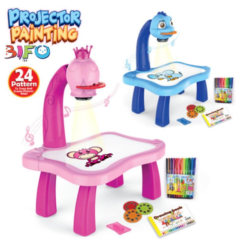Bộ đồ chơi bàn vẽ 3D, bàn chiếu đa năng chiếu hình tập vẽ có đèn chiếu sáng thông mình cho bé