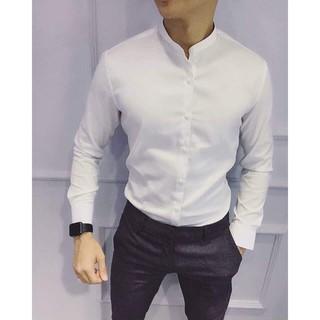Siêu Giảm Giá HÀNG TỐT Áo sơ mi nam cổ tàu vải Thái bền đẹp màu trắng Cam Kết Giống Hình (Cam kết giống hình)