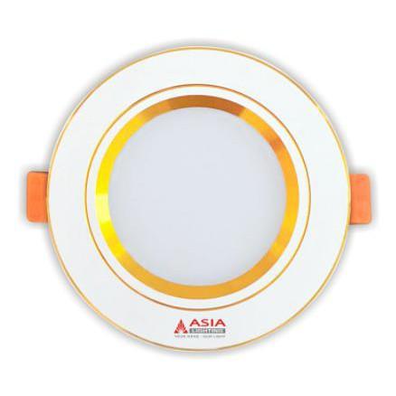 Đèn LED âm trần mặt vàng 7W đường kính 90mm ASIA
