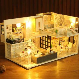 Mô hình nhà gỗ búp bê Dollhouse DIY – Kèm Mica – M021A Simple