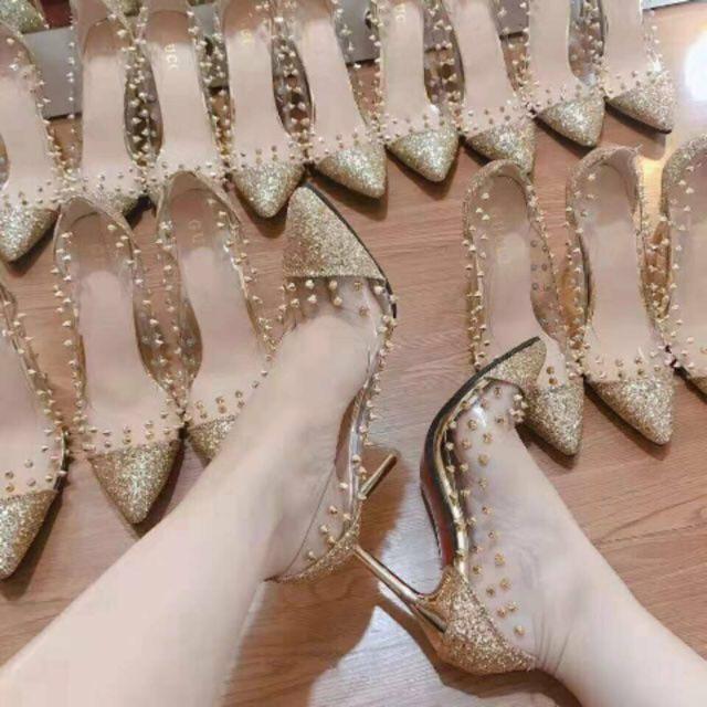 (Cực sang) Giày cao gót nhọn 9 phân quai trong phối đinh siêu xinh