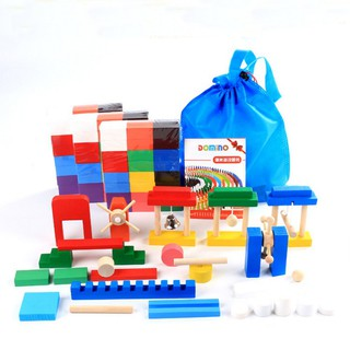 Đồ chơi Domino gỗ cho bé Domino toán học xếp hình thông minh trẻ em (Kèm cối xay gió và phụ kiện)