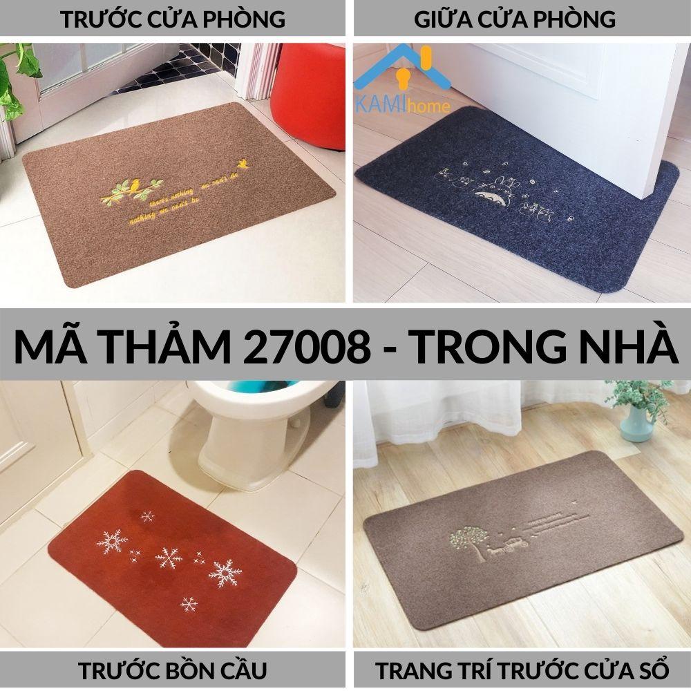 Thảm trải sàn Nhà tắm chống trơn trượt và lau chùi chân khô mặt Nỉ 60*40cm trang trí chụp ảnh mã 27008
