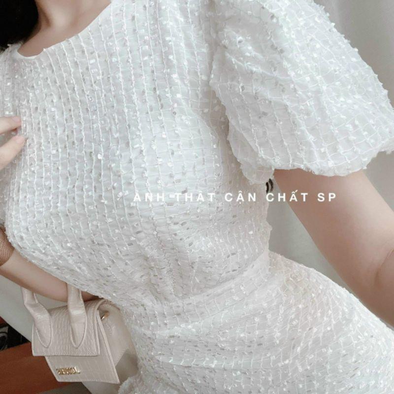 Mặc gì đẹp: Sang chảnh với Đầm dự tiệc ren trắng đen nhún đuôi cá Lisa Dress