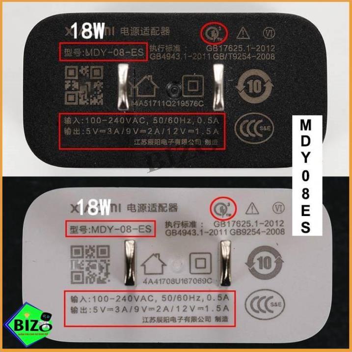 [ZIN XIAOMI] Củ sạc nhanh Quick Charge 3.0, cốc sạc xiaomi zin hãng 5V-3A MYD-08-ES