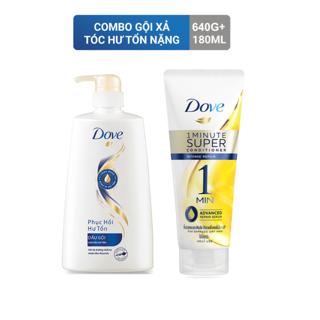 Combo gội 640g + xả 180ml Dove siêu dưỡng phục hồi tóc hư tổn nặng thumbnail