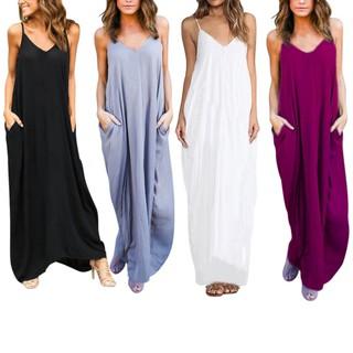 Đầm Maxi Không Tay Màu Trơn Phong Cách Boho