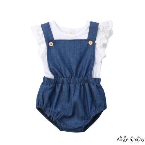 Set áo liền quần denim phối ren và áo thun xinh xắn cho bé gái sơ sinh