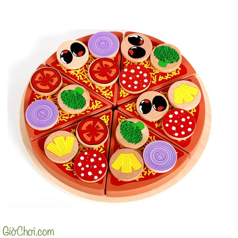Đồ Chơi Trang Trí Bánh Pizza Bằng Gỗ Cho Bé