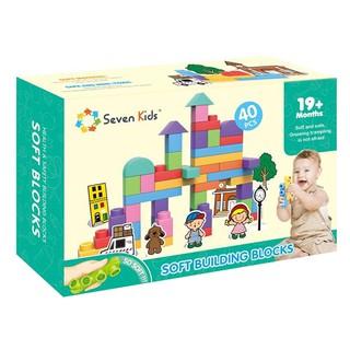 Hộp lắp ghép tự do 40 chi tiết bằng nhựa dẻo an toàn tuyệt đối với trẻ em