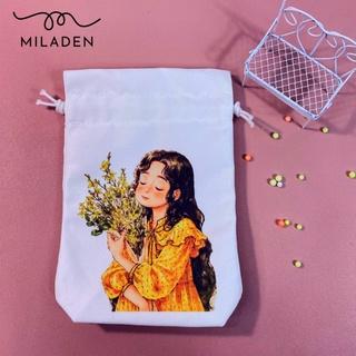 Túi Vải Dây Rút Canvas Girl Ôm Hoa, đựng đồ tiện lợi chống bụi, chống nước, giữ đồ dùng sạch sẽ như mới Miladen thumbnail