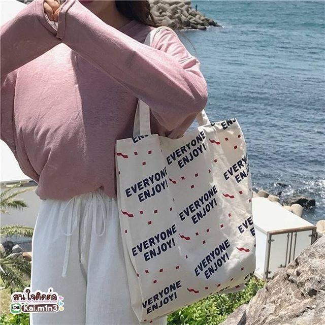 ENJOY! tote bag 210บาท #ส่งฟรีลงทะเบียน  #พร้อมส่ง . tote ทรงเปิดใบใหญ่ต้องรุ่นนี้ รูปทรงเกาหลีมาก
