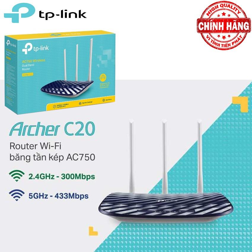 Bộ Phát Router WiFi Băng Tần Kép TP-Link AC750 - Archer C20 ( với băng tần 2.4Ghz và 5Ghz - 733Mbps )